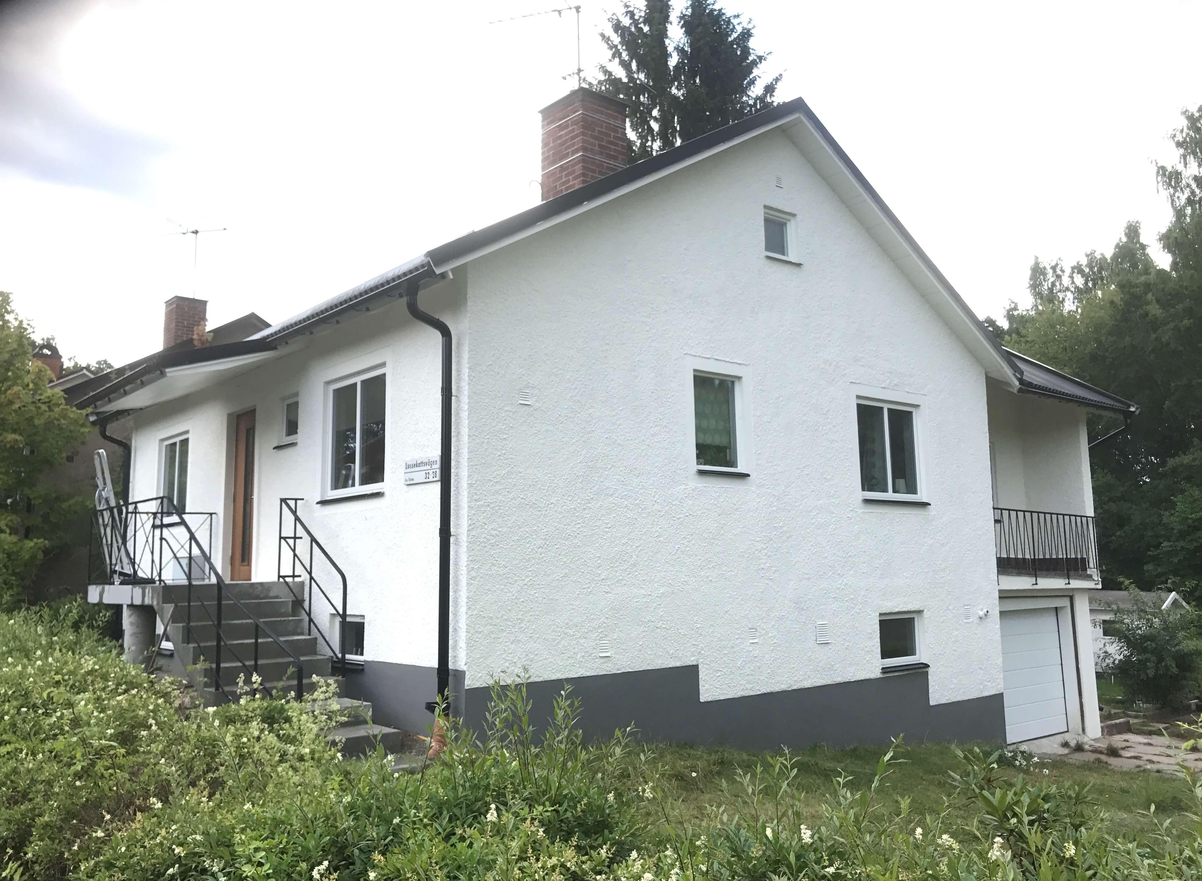 Fasadputs i Stockholm för villa i Sköndal 1
